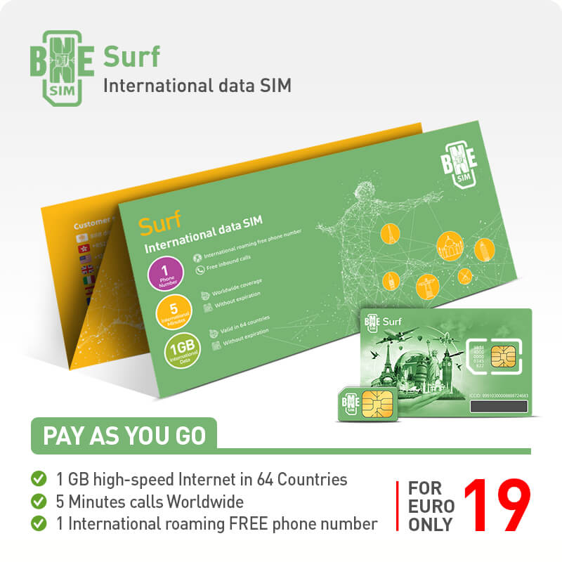 BNESIM Surf: 1GB 4G LTE Internet in the 64 Internet Home Countries