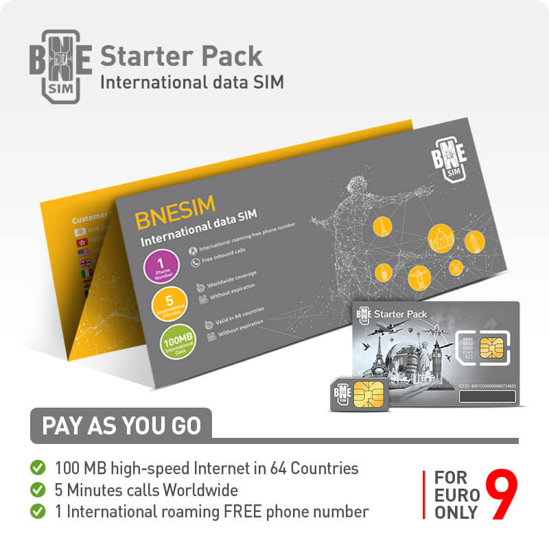 BNESIM Starter Pack: 100MB 4G LTE Internet in the 64 Internet Home Countries