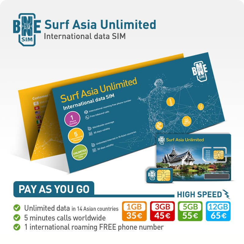 BNESIM Surf Asia Unlimited: Unlimited GB of data in 14 Asian Countries