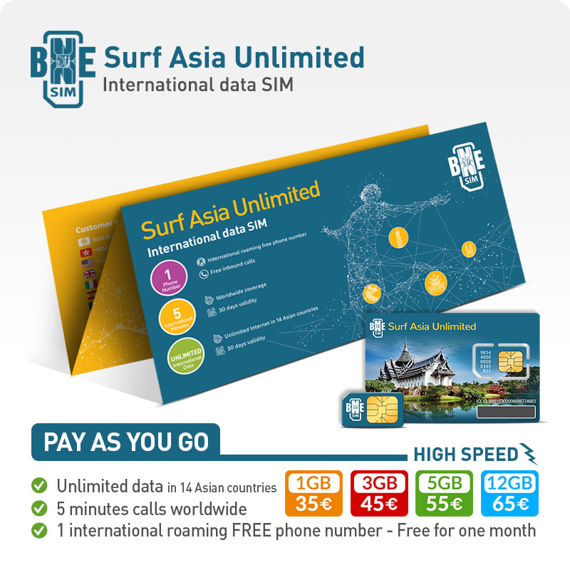 BNESIM Surf Asia Unlimited: Unlimited GB of data in 19 Asian Countries