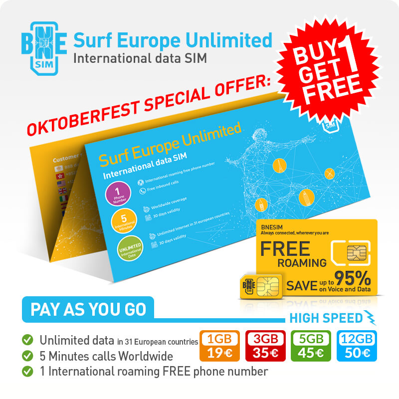 BNESIM Surf Europe Unlimited: Unlimited GB of data in the European Community