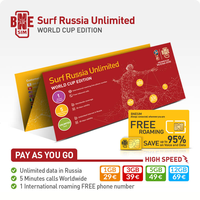 BNESIM 2018 FIFA World Cup Russia: Unlimited GB of data in Russia
