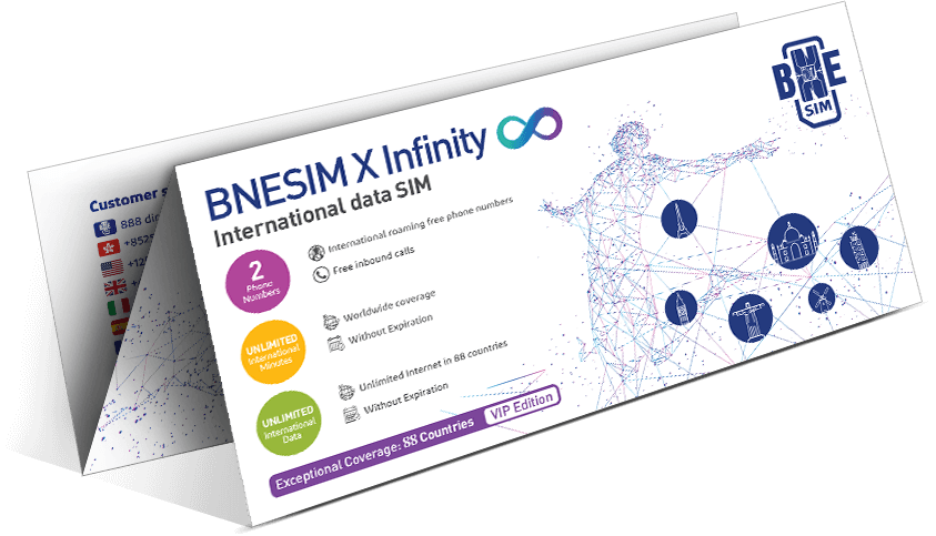 International SIM card unlimited data: BNESIM X Infinity