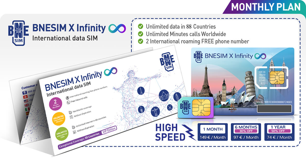 BNESIM X Infinity: Unlimited worldwide data and international calls